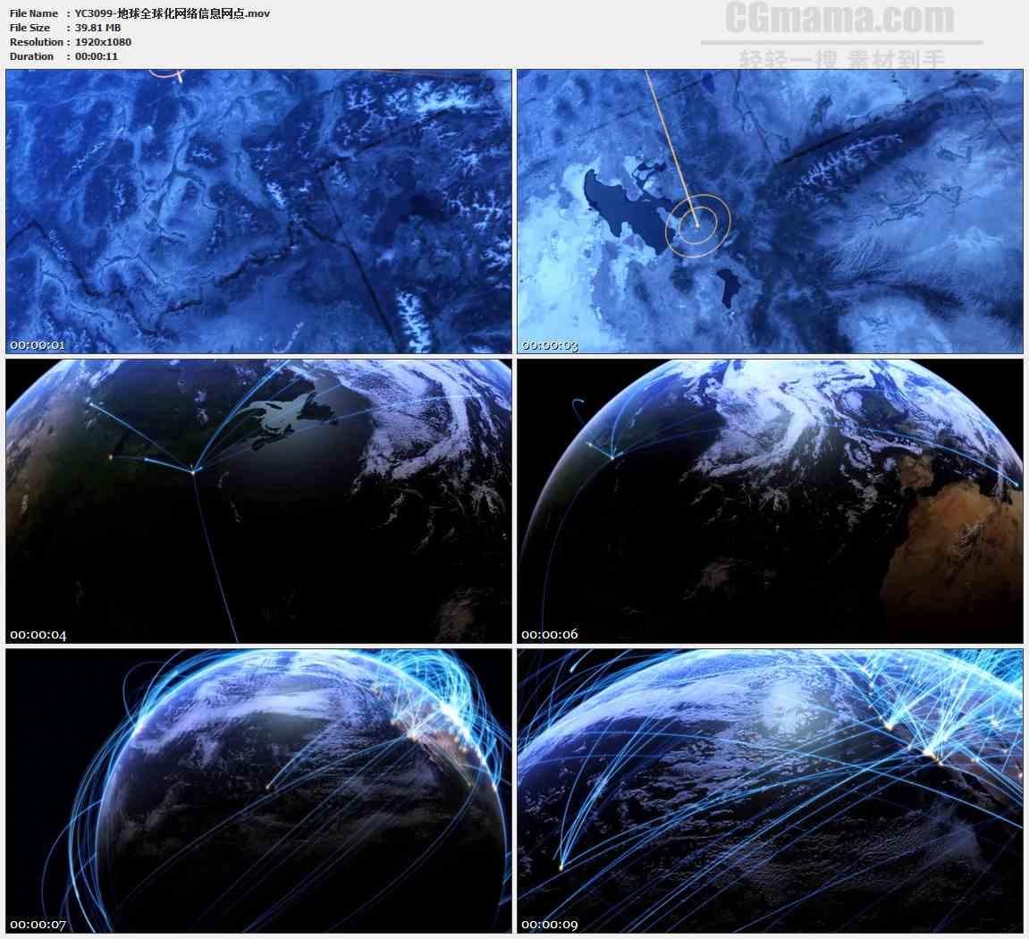 YC3099-地球全球化网络信息网点高清实拍视频素材