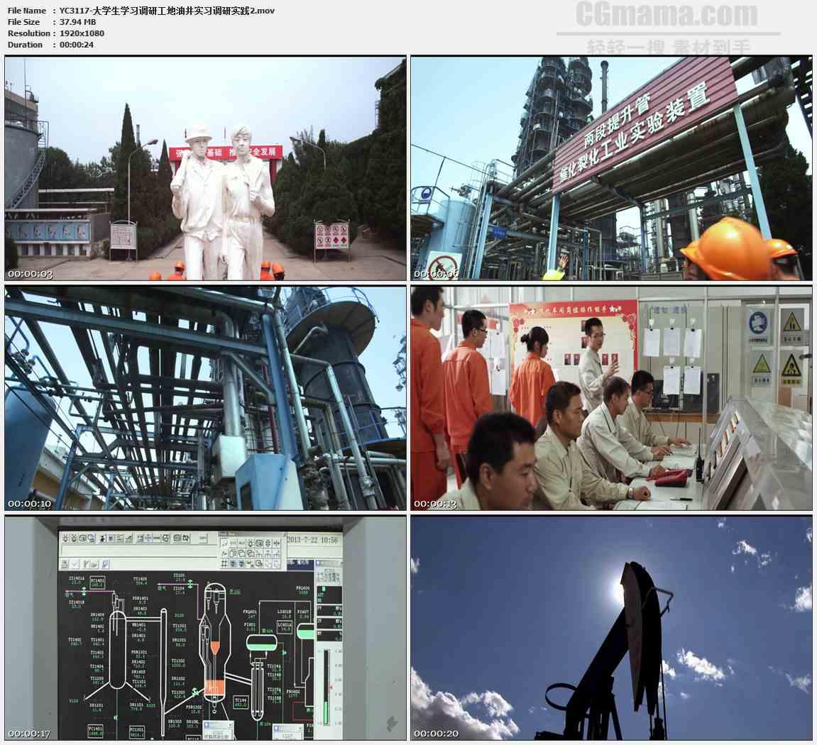 YC3117-大学生学习调研工地油井实习调研实践高清实拍视频素材
