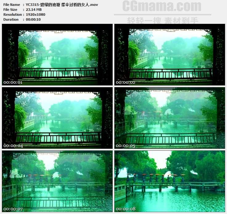 YC3315-碧绿的池塘 撑伞过桥的女人高清实拍视频素材