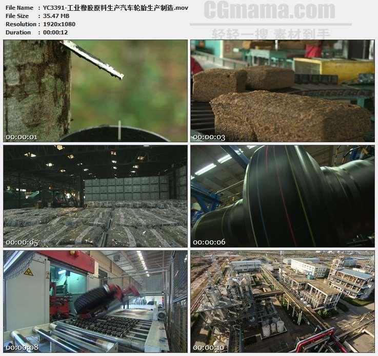 YC3391-工业橡胶原料生产汽车轮胎生产制造高清实拍视频素材