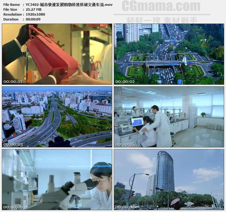 YC3402-城市快速发展购物科技科研交通车流高清实拍视频素材