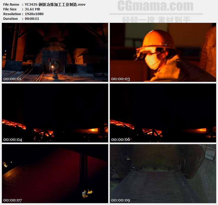 YC3435-钢铁冶炼加工工业制造高清实拍视频素材