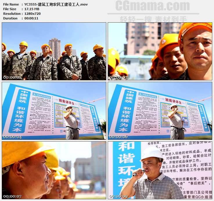 YC3555-建筑工地农民工建设工人高清实拍视频素材
