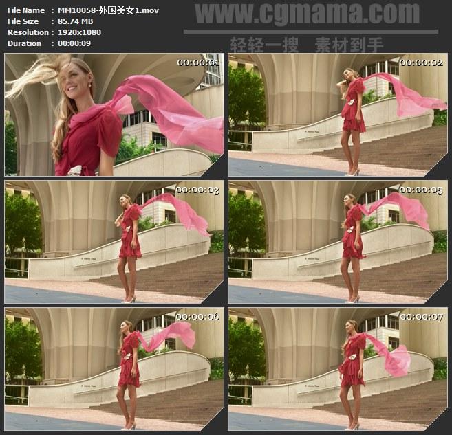 MM10058-外国红裙美女模特飘动的红色纱巾高清实拍视频素材