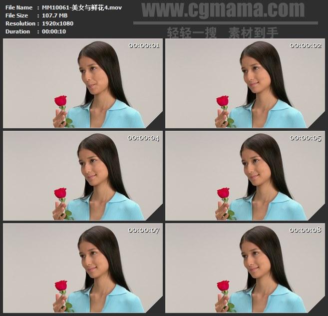 MM10061-美女手拿一朵红色鲜花高清实拍视频素材