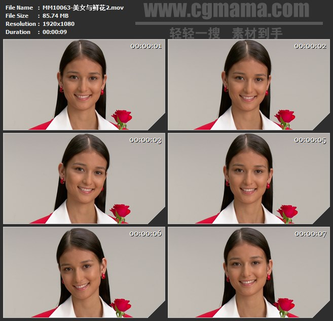 MM10063-手拿鲜花美女正面微笑笑脸高清实拍视频素材