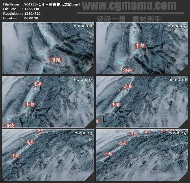 YC4253-长江三峡古物示意图高清实拍视频素材