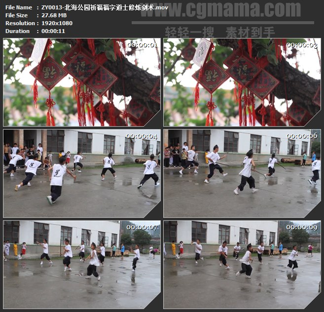 ZY0013-北海公园祈福福字道士修炼剑术高清实拍视频素材
