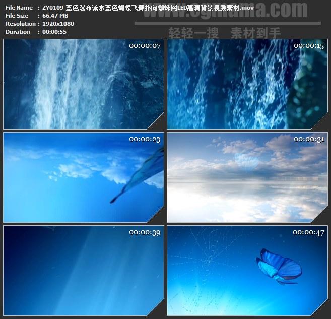 ZY0109-蓝色瀑布流水蓝色蝴蝶飞舞扑向蜘蛛网LED高清背景视频素材