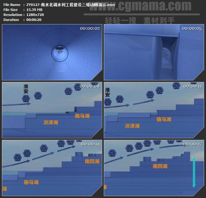 ZY0127-南水北调水利工程建设三维动画演示 高清实拍视频素材