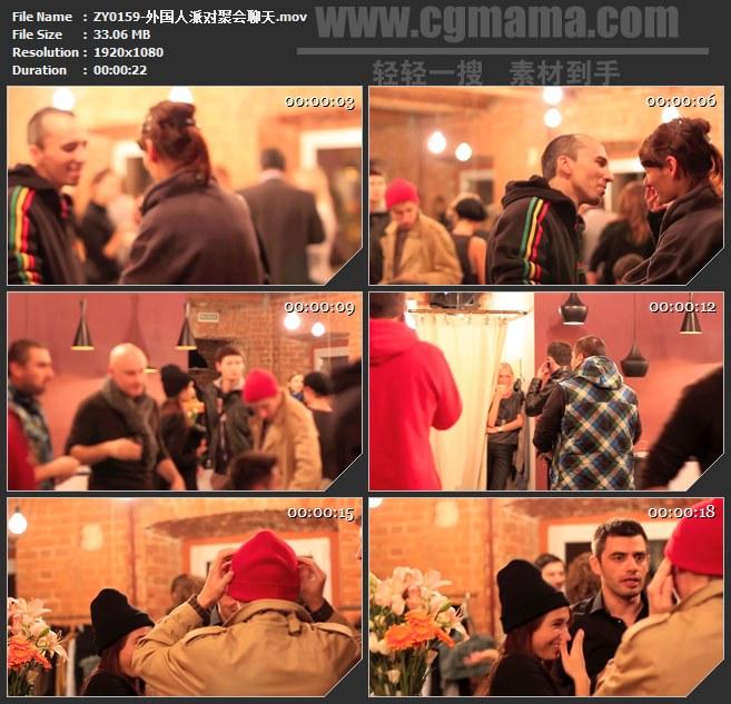 ZY0159-外国人派对聚会聊天 高清实拍视频素材