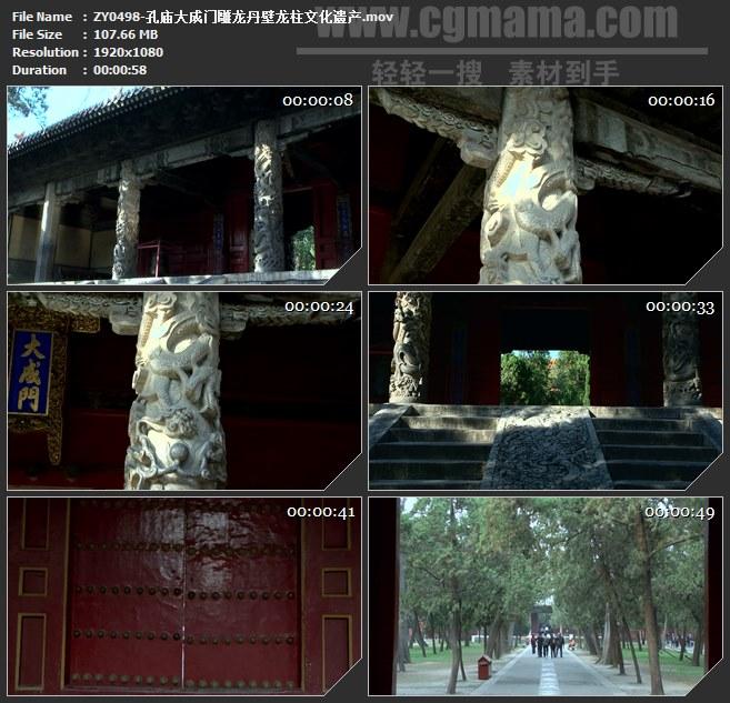 ZY0498-孔庙大成门雕龙丹壁龙柱文化遗产 高清实拍视频素材