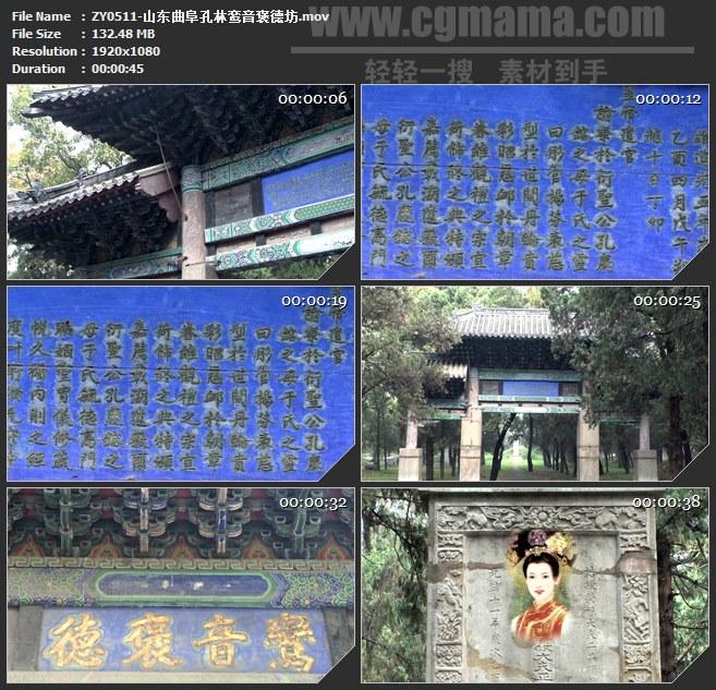 ZY0511-山东曲阜孔林鸾音褒德坊 高清实拍视频素材