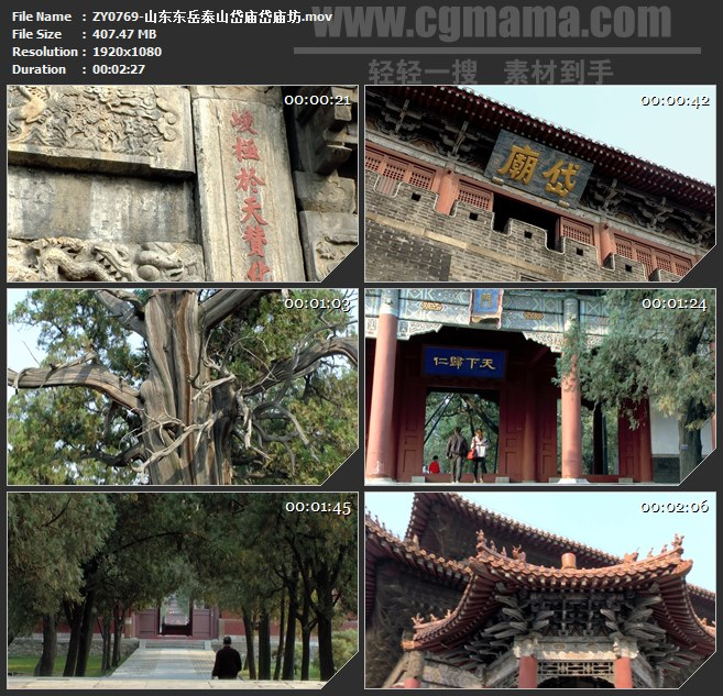 ZY0769-山东东岳泰山岱庙岱庙坊 高清实拍视频素材