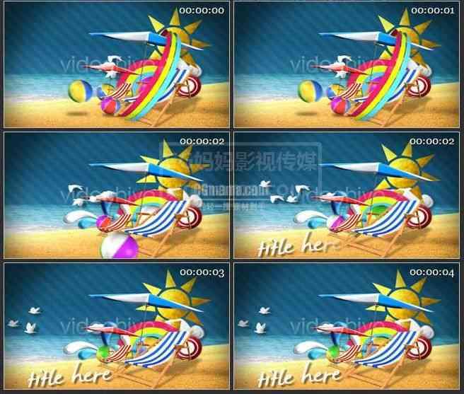 AE0002-夏季海滩卡通动画AE模板