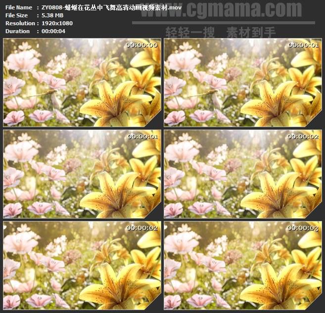 ZY0808-蜻蜓在花丛中飞舞高清动画视频素材