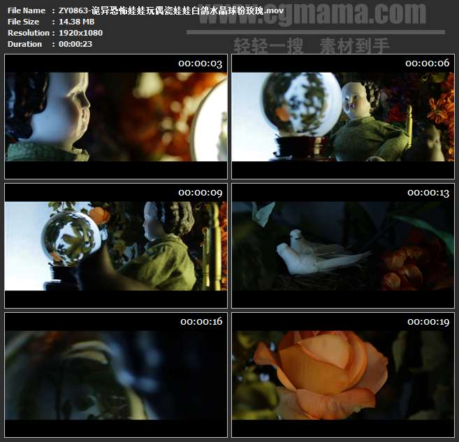 ZY0863-诡异恐怖娃娃玩偶瓷娃娃白鸽水晶球粉玫瑰 高清实拍视频素材