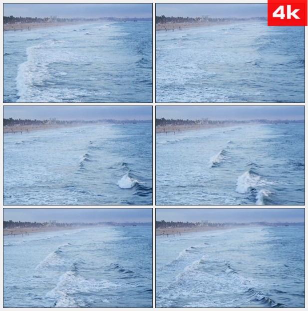 4K0017在加利福尼亚海岸的波浪 高清实拍视频素材