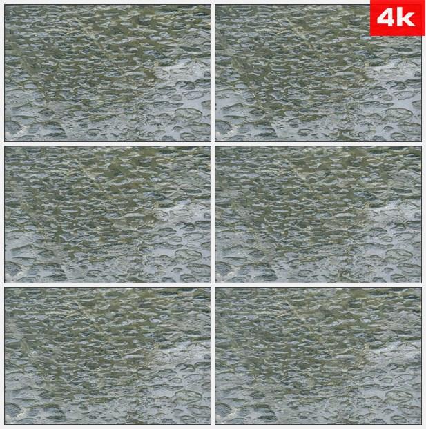 4k0031雨中水滴石板路高清实拍视频素材