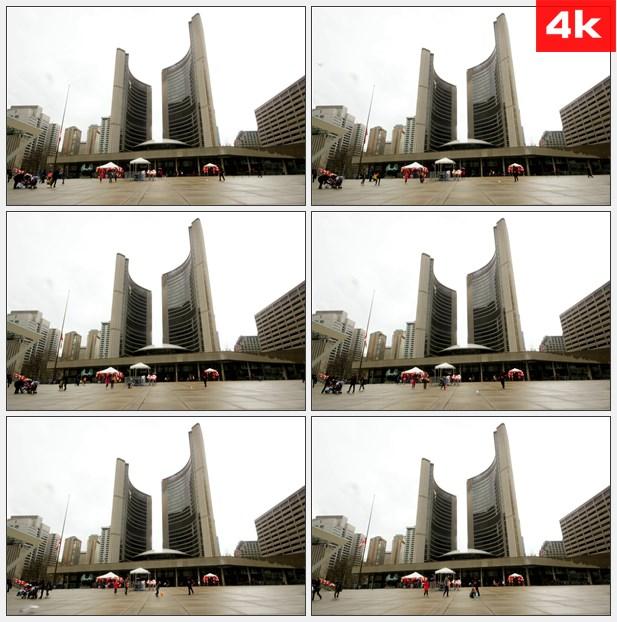 4K0039阴天时候的多伦多市政广场高清实拍视频素材