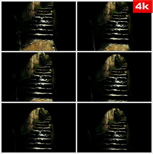 4K0040阴暗潮湿的石梯 高清实拍视频素材