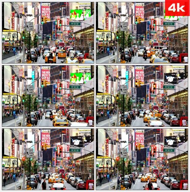 4K0041异国特色 纽约热闹的大街 拥挤的城市生活 高清实拍视频素材