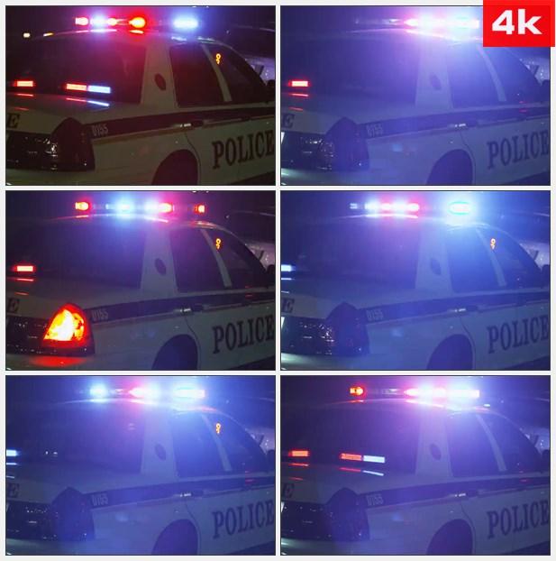 4K0044夜晚警车警灯闪烁特写 高清实拍视频素材