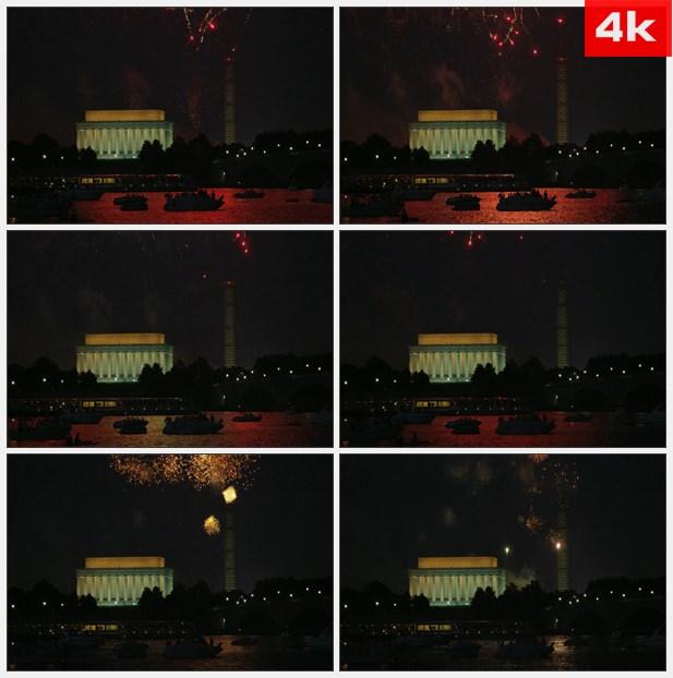 4K0046夜晚纪念碑旁的烟花高清实拍视频素材