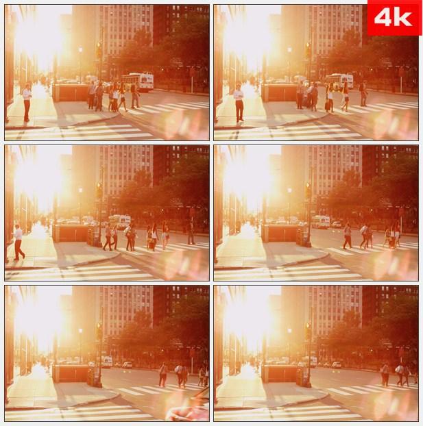 4K0082阳光-眩光人行横道 高清实拍视频素材