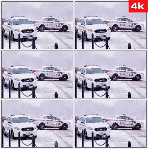 4K0086雪周围的警察的车辆 高清实拍视频素材
