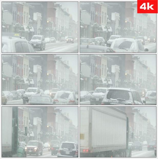 4K0090雪中的华盛顿街道交通 高清实拍视频素材