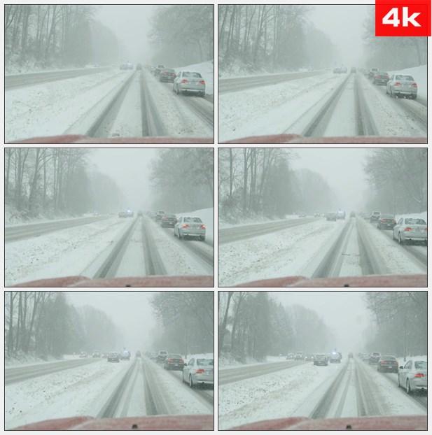 4K0116下雪暴雪大雪驾驶恶劣天气 高清实拍视频素材