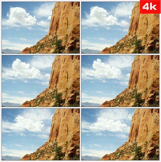 4K0122锡安,国家公园云 蓝天白云 岩石峭壁高清实拍视频素材