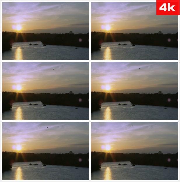 4K0137夕阳反射在湖泊上 高清实拍视频素材