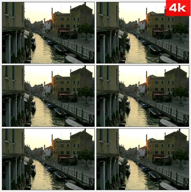 4K0142威尼斯意大利运河在日落 高清实拍视频素材