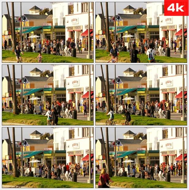 4K0143威尼斯海滨路 路上行人 高清实拍视频素材