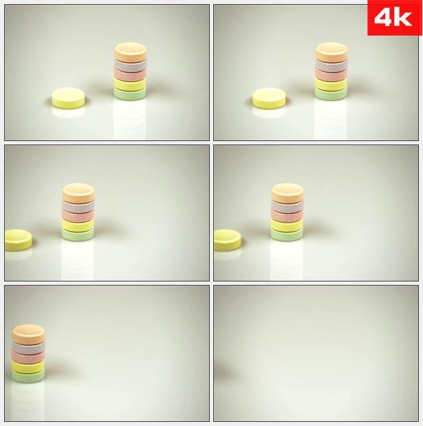 4K0150甜馅饼糖果堆叠 高清实拍视频素材