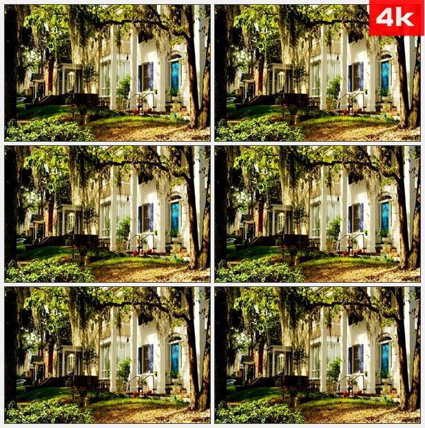 4k0151田园乡村别墅蓝色窗户 高清实拍视频素材