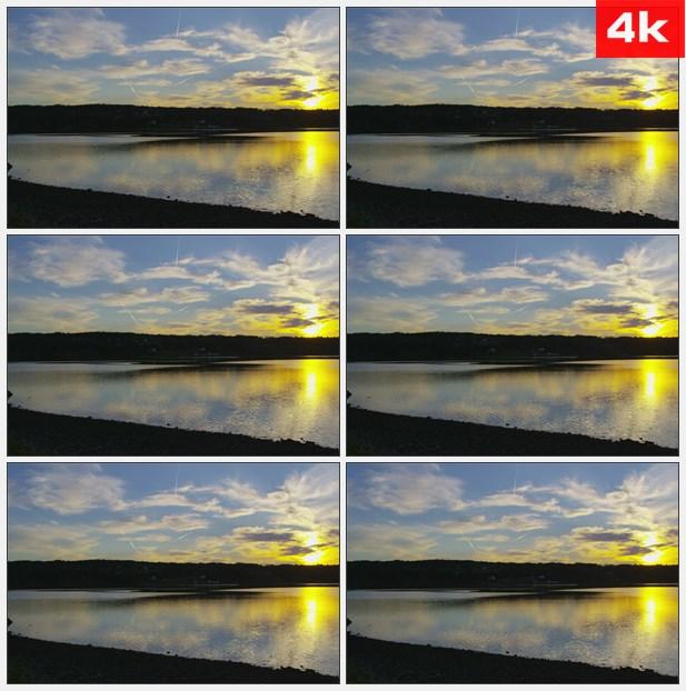 4K0160太阳照射在湖泊上 高清实拍视频素材