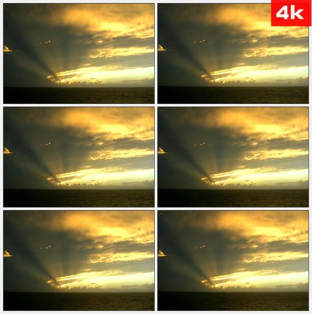 4K0163太阳透过乌云照射加勒比海洋高清实拍视频素材