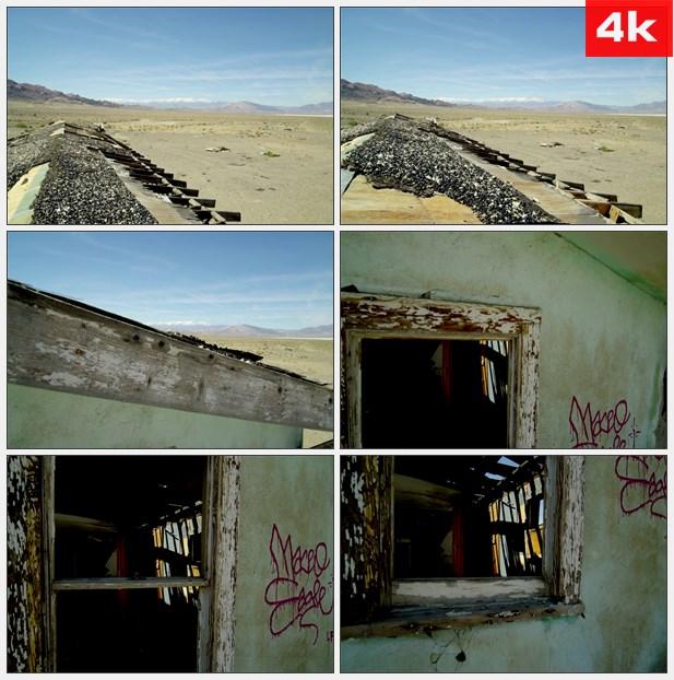 4K0197山野郊区 自然实景 荒漠里的废墟 废弃的小屋房子 荒无人烟的郊外 高清实拍...