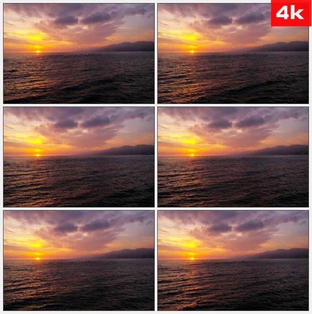 4k0230日落与紫地平线 高清实拍视频素材