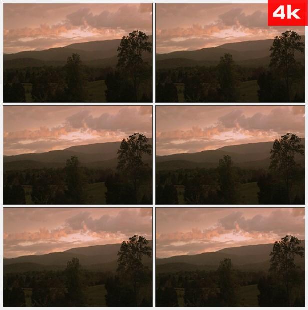 4K0241日落橙色乡村薄雾 高清实拍视频素材