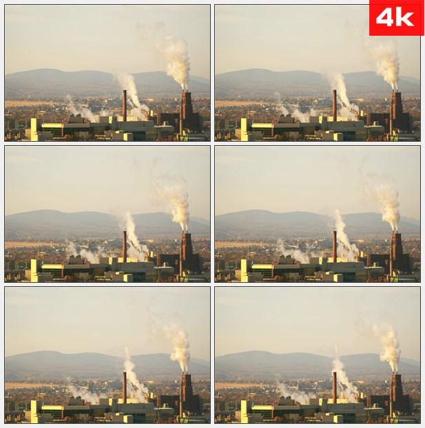 4K0242日落城市工业区烟筒冒烟 高清实拍视频素材