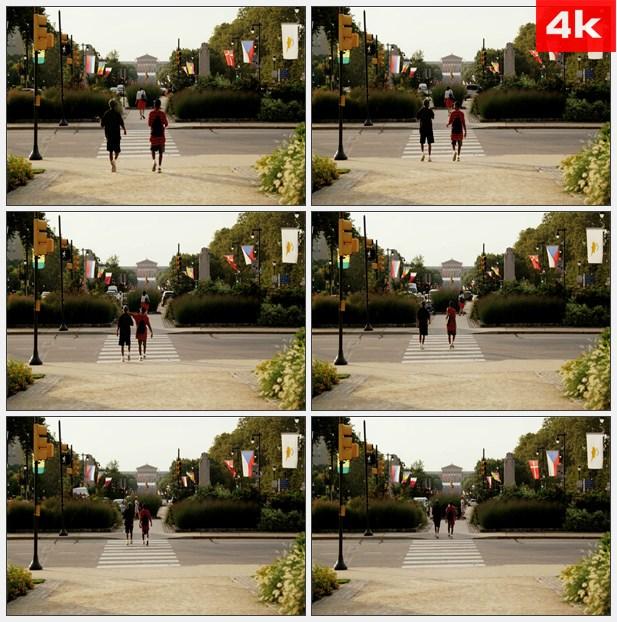 4K0245人行道费城艺术博物馆 高清实拍视频素材