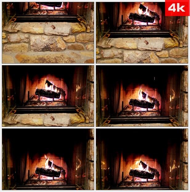4K0248燃烧的壁炉 高清实拍视频素材