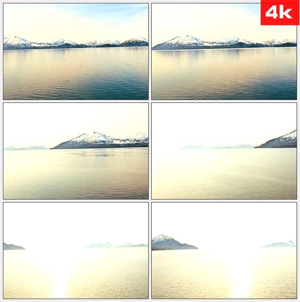 4K0269平静的湖水远处的雪山 高清实拍视频素材
