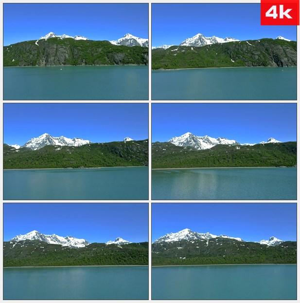 4K0270平静的湖面远方的雪山 高清实拍视频素材