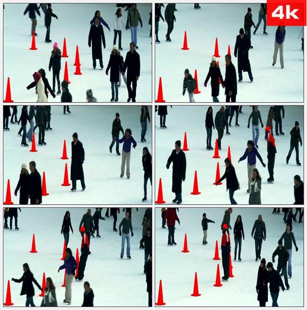 4K0281纽约繁忙的溜冰场 高清实拍视频素材