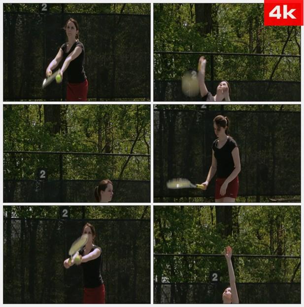 4K0299美女打网球特写 高清实拍视频素材